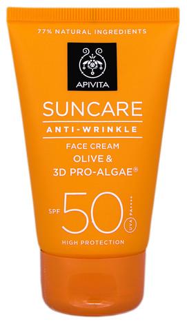 Apivita Suncare Сонцезахисний крем для обличчя проти зморшок SPF-50 50 мл 1 туба