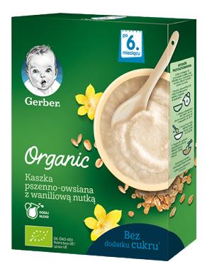Gerber Organic Каша безмолочна пшенично-вівсяна з ваніллю з 6 місяців 240 г 1 коробка
