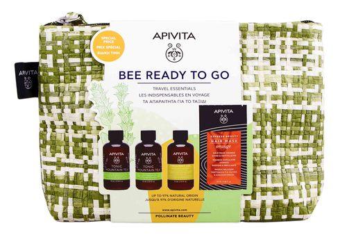 Apivita гель для душу Гірський чай 75 мл + зволожуюче молочко 75 мл + шампунь 75 мл 1 набір