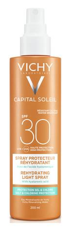 Vichy Capital Soleil Спрей водостійкий з гіалуроновою кислотою, захищає шкіру від солі та хлору SPF-30 200 мл 1 флакон