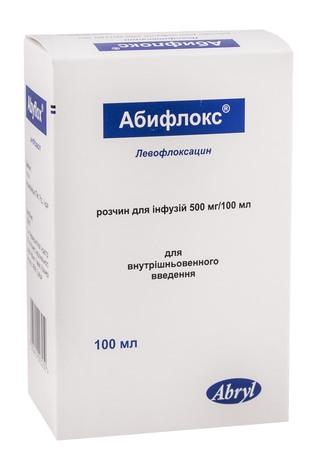 Абифлокс розчин для інфузій 500 мг/100 мл  100 мл 1 флакон