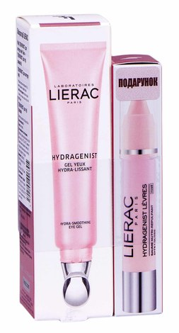 Lierac Hydragenist Набір Гель для контуру очей гідра-розгладжувальний 15мл + Бальзам-олівець для губ рожевий 3 г 1 шт