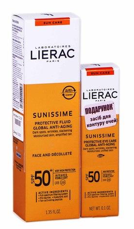 Lierac Sunissime захисний флюїд SPF-50+ 40 мл + засіб для контуру очей SPF-50 3 г 1 набір