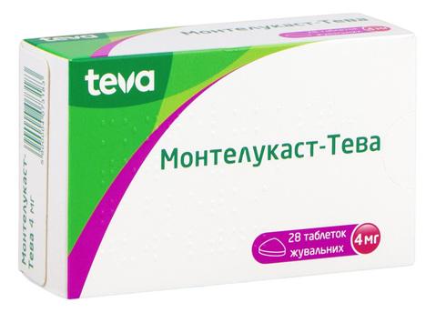 Монтелукаст Тева таблетки жувальні 4 мг 28 шт
