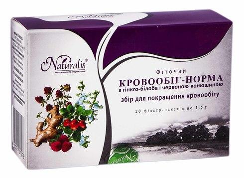 Naturalis Кровообіг-Норма фіточай 1,5 г 20 фільтр-пакетів