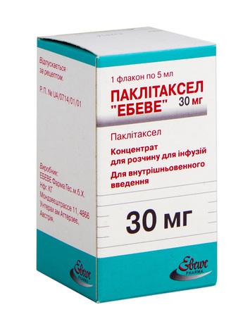 Паклітаксел Ебеве концентрат для інфузій 30 мг 5 мл 1 флакон