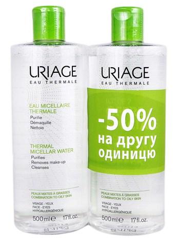 Uriage Міцелярна термальна вода для комбінованої та жирної шкіри Дуо 2х500 мл 1 набір