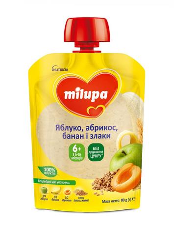 Milupa Пюре Яблуко, абрикос, банан, просо, жито з 6 місяців 80 г 1 пауч