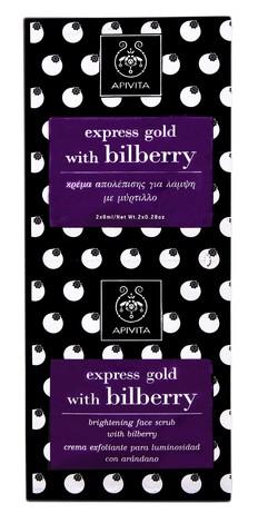 Apivita Express Gold Скраб для освітлення шкіри обличчя з чорницею Акція 8 мл 2 пакетів