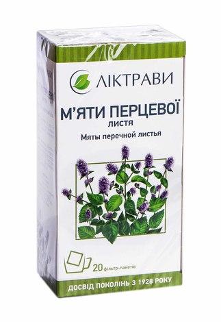 Ліктрави М`яти перцевої листя 1,5 г 20 фільтр-пакетів