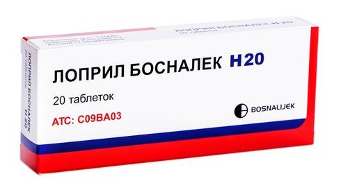 Лоприл Босналек H 20 таблетки 20 мг/12,5 мг  20 шт
