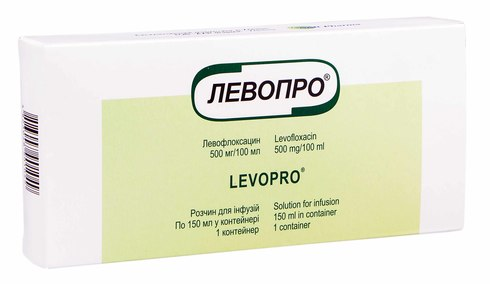 Левопро розчин для інфузій 500 мг/100 мл  100 мл 1 флакон