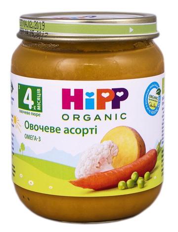 HiPP Пюре Овочеве асорті з 4 місяців 125 г 1 банка