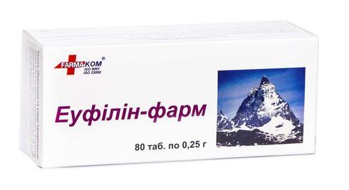 Еуфілін-Фарм таблетки 0,25 г 80 шт