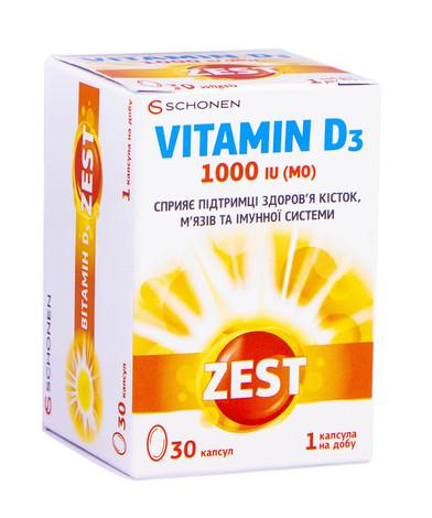 Zest Вітамін Д3 капсули 1000 МО 30 шт