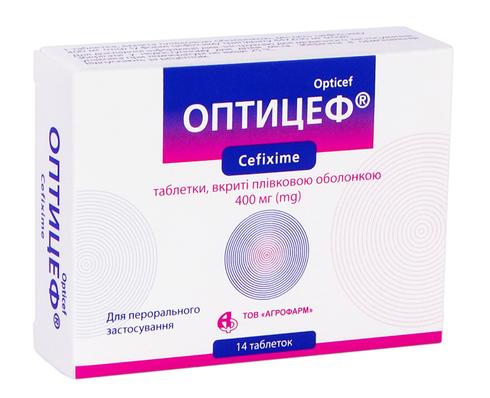 Оптицеф таблетки 400 мг 14 шт