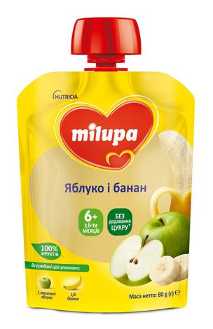 Milupa Пюре Яблуко і банан з 6 місяців 80 г 1 пауч