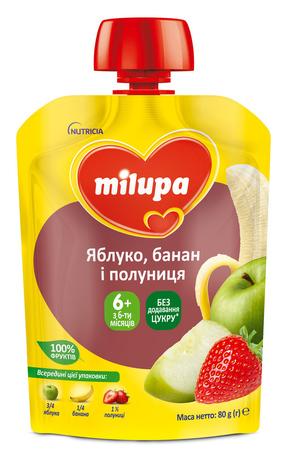 Milupa Пюре Яблуко, банан і полуниця з 6 місяців 80 г 1 пауч