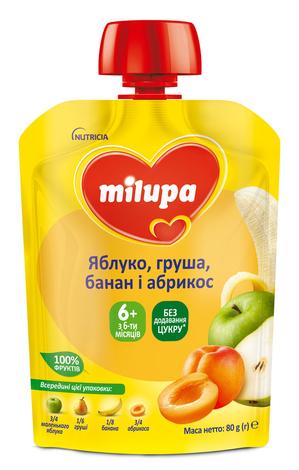 Milupa Пюре Яблуко, груша, банан і абрикос з 6 місяців 80 г 1 пауч