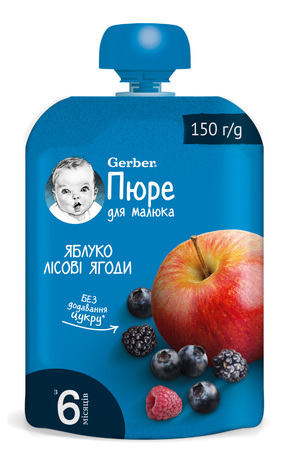 Gerber Пюре Яблуко-лісові ягоди з 5 місяців 150 г 1 пауч