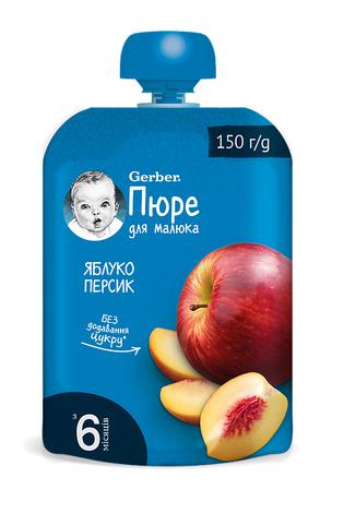 Gerber Пюре Яблуко-персик з 5 місяців 150 г 1 пауч