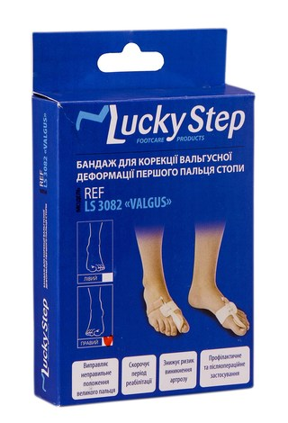Lucky Step LS3082 Бандаж для корекції вальгусної деформації першого пальця стопи правий 1 шт