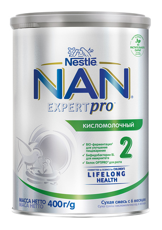 NAN Кисломолочний 2 Суха дитяча молочна суміш з 6 місяців 400 г 1 банка
