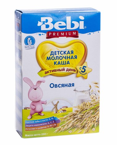 Bebi Premium Каша молочна вівсяна з 5 місяців 250 г 1 коробка