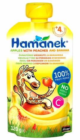 Hamanek Пюре яблуко з персиком та бананом від 4 місяців 120 г 1 пауч