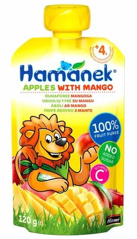 Hamanek Пюре яблуко з манго від 4 місяців 120 г 1 пауч