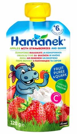 Hamanek Пюре яблуко з полуницею та сиром від 6 місяців 120 г 1 пауч