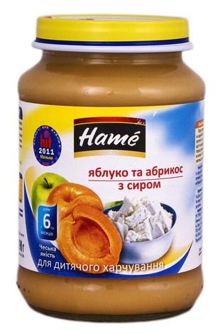 Hame Пюре Яблуко та абрикос з сиром від 6 місяців 190 г 1 банка