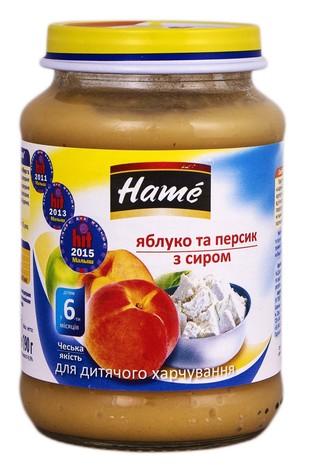 Hame Пюре Яблуко та персик з сиром від 6 місяців 190 г 1 банка