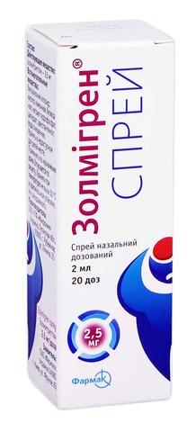 Золмігрен спрей назальний 2,5 мг/доза 20 доз 1 флакон