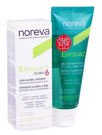 Noreva Exfoliac Global 6 30 мл + очищуючий гель для чутливої шкіри 100 мл 1 набір