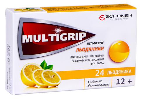 Мультигрип з медом та зі смаком лимона льодяники 24 шт
