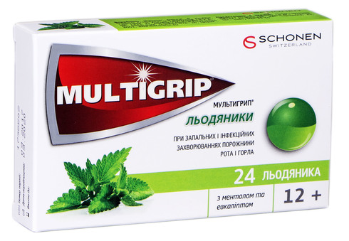 Мультигрип з ментолом та евкаліптом льодяники 24 шт