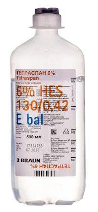 Тетраспан 6 % розчин для інфузій 500 мл 10 контейнерів