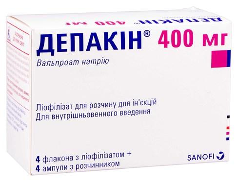 Депакін порошок для ін'єкцій з розчинником 400 мг 4 шт