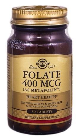 Solgar Фолат (Метафолін) таблетки 400 мкг 50 шт