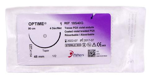 Peters surgical Optime 1 Шовний матеріал 90 см, ріжуча голка 48 мм 1/2 кола 18S40G 1 шт