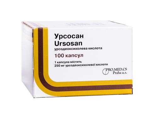 Урсосан капсули 250 мг 100 шт