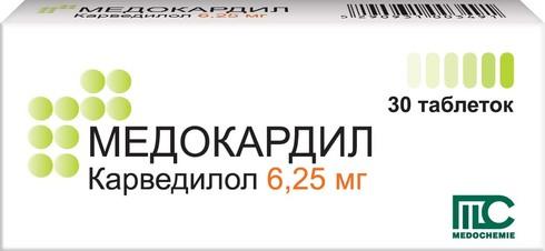 Медокардил таблетки 6,25 мг 30 шт