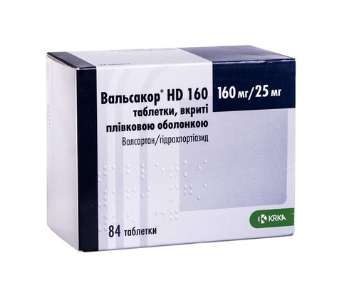 Вальсакор HD таблетки 160 мг/25 мг  84 шт