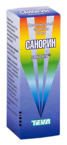 Санорин краплі назальні 0,5 мг/мл 10 мл 1 флакон