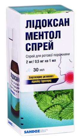 Лідоксан ментол спрей для ротової порожнини 2 мг/0,5 мг на 1 мл  30 мл 1 флакон