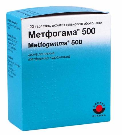 Метфогама таблетки 500 мг 120 шт