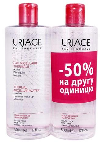 Uriage Термальна міцелярна вода для надмірно чутливої шкіри Дуо 2х500 мл 1 набір