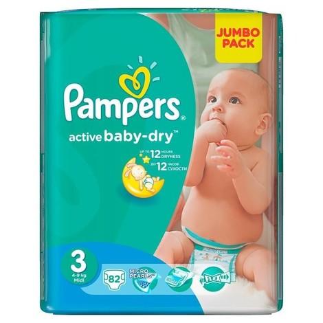 Pampers Active Baby-Dry 3 Midi Підгузки дитячі 4-9 кг 82 шт