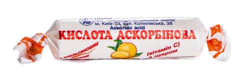 Аскорбінова кислота з цукром апельсиновий смак таблетки 25 мг 10 шт